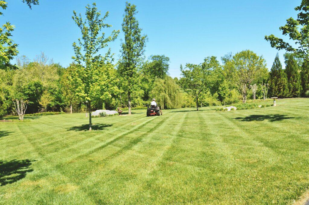 Lawn Mowing man using riding lawn mower on large residential yard
